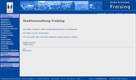 Screenshot einer leeren Detailseite auf freising.de